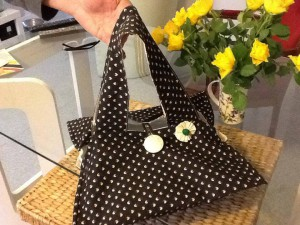 sac à tarte noir et beige